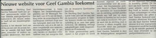 Nieuwe website Geef Gambia Toekomst. Uit: de Heemsteder, 18-12-2013