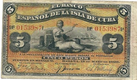 Vondst: 5 peso-biljet Spaanse bank van het eiland Cuba, 1890
