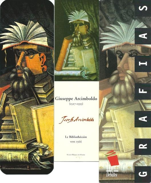 Drie van talrijke boekenleggers met afbeelding van Arcimboldo's bibliothecaris