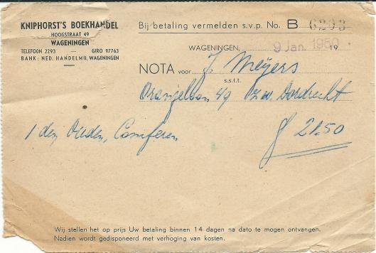 Nota van Kniphorst Boekhandel in Wageningen van 9 januari 1950