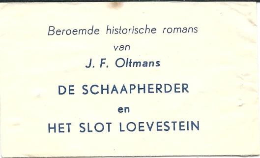 Suikerzakje met reclame voor 2 boeken van schrijver J.F.Oltmans, uitgegeven door V.A.Kramers in Den Haag