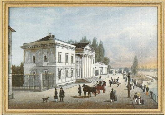 Ansichtskarte von Kupferstich aus 1838 der frühere Stadt- und Universitätsbibliothek Frankfurt am Main