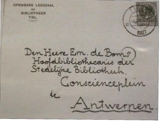 Enveloppe van een schrijven van Thiry aan zijn collega-bibliothecaris/schrijver E. de Bom in Antwerpen. Ill. uit een artikel van Cees Visser: 'Thiry in Tiel; een Vlaamse schrijver in ballingschap. In: Boekenpost nr. 109, sept/okt. 2010, p.35-37.
