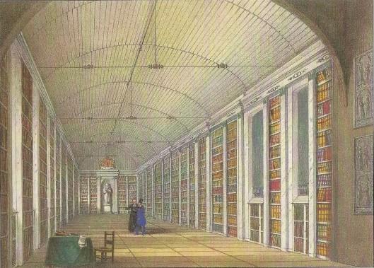 Afbeelding uit 1837 bam de oude bibliotheek van de abdij Ter Duinen in Brugge. De huidige bibliotheek bevindt zich nog altijd op dezelfde plaats