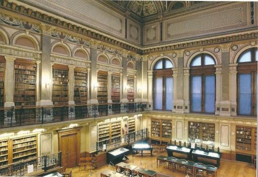 Leeszaal van de Universiteitsbibliotheek Budapest, Hongarije