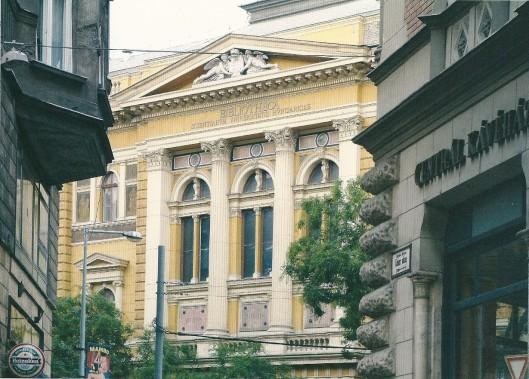 Exterieur Universiteitsbibliotheek Budapest, tussen 1873 en 1875 gebouwd naar plannen van Antal Szakalnitzky