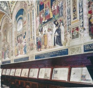 Biblioteca Piccolomini bij de Dom van Siena, Italië