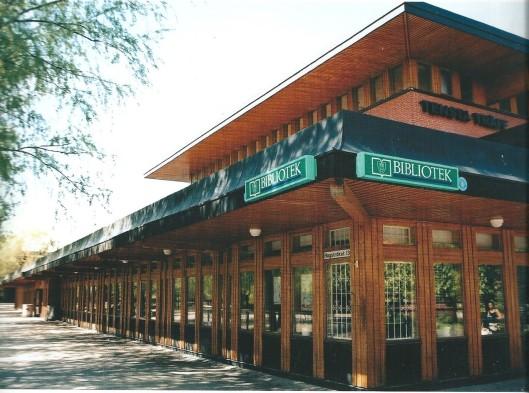 Tensta bibliotheek, Spanga, Zweden. In 200 gebouwd naar een ontwerp van Gosta Uddén.