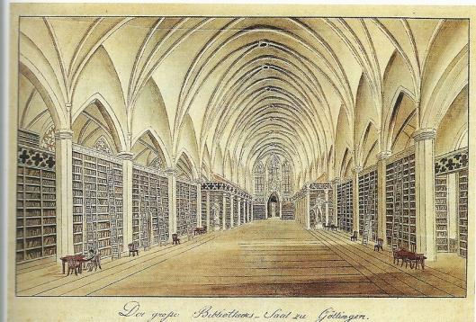 Gravure van de in 1737 gestichte universiteit van Göttingen, die in 1812 al 200.000 boeken omvatte.