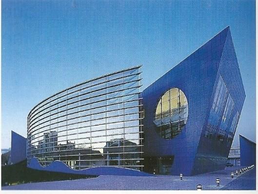 De mediatheek van Roanne, gebouwd door Jean-Louis Godivier