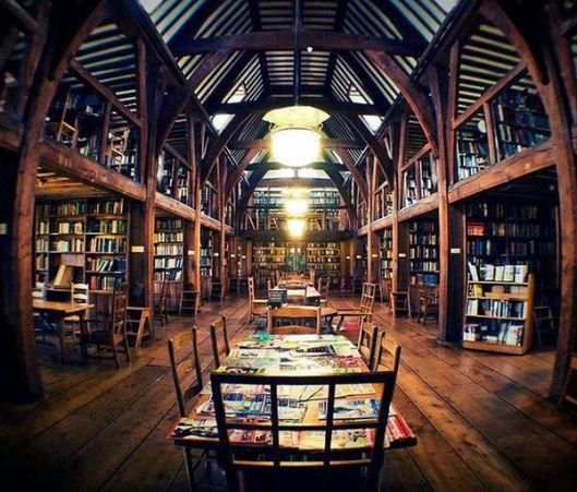 Schoolbibliotheek Bedales, Petersfield, Hampshire, Engeland