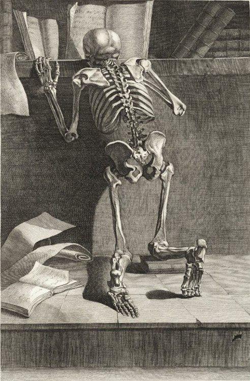 Lezend skelet op een gravure uit 1779