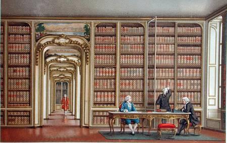 18e eeuwse prent van Vergennes' bibliotheek in het paleis van Versailles