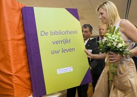 Prinses Maxima bij opening bibliotheek Wassenaar