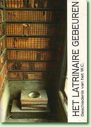 Vooromslag van een boek door Danny Lamang (Gent, 1993) met afbeelding van de latrine bij een bibliomaan