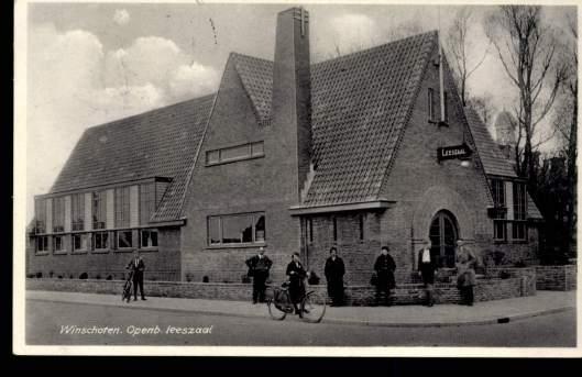 Ansichtkaart van openbare leeszaal Winschoten uit 1939