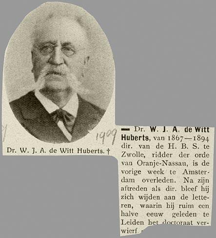 W.J.A.de Witt Huberts (uit: De Prins, 1909)