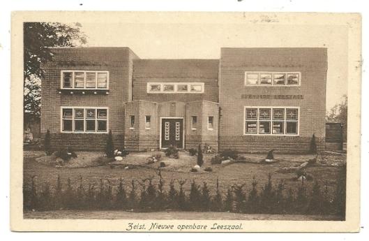 Ansichtkaart openbare bibliotheek Zeist, circa 1925