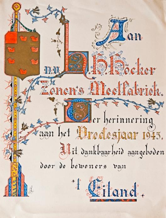 Door de bewoners van 'het Eiland', een wijkje tegenover de molen in de richting van de Kadijk in 1945 aangeboden oorkonde aan de familie Höcker als dank voor het ontvangen meel tijdens de hongerwinter
