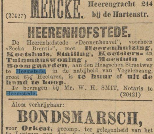 Advertentie Dennenheuvel van 12 september 1891 uit het Handelsblad