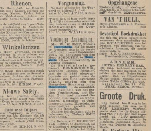 Advertentie uit Het Nieuws van den dag van 29 juli 1891