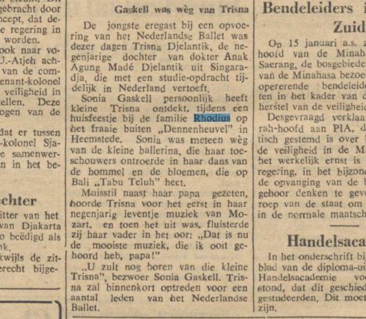 Zowel door Felix Rhodius op Dennenheuvel ad Hans Rhodius op Bloemenoord zijn incidenteel tuinfeesten gehouden, o.a. voor de familie Andriessen uit Haarlem. Bijgaand bericht uit de Javabode is van 12 januari 1957