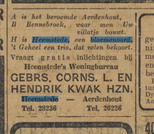 Nog een middenstandsrijm van woningbureau Kwak uit omstreeks 1930