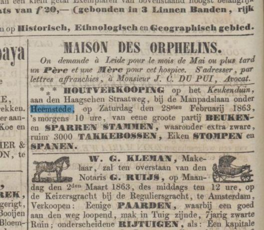 Advertentie van een houtverkoping op het Keukenduin in de Opregte Haarlemsche Courant van 26 februari 1863