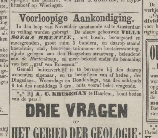 Aankondiging van verloop van nieuwe villa Soeka Brentie in de Opregte Haarlemsche Courant van 8 oktober 1864