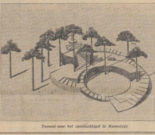 Ontwerp plattegrond van openluchttheater in Groenendaal, Heemstede (De Tijd, 11-9-1937)