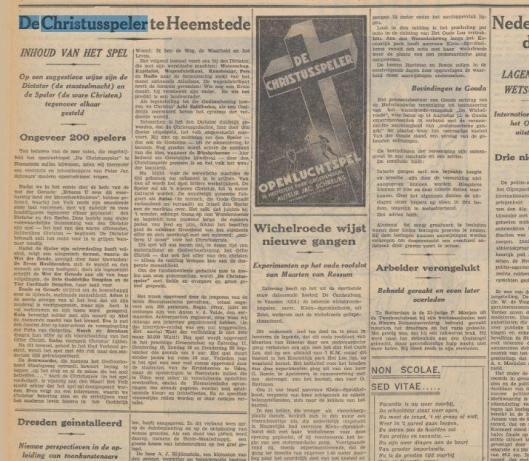 Artikel over het spel 'De Christusspeler' uit De Tijd van 5-9-1937