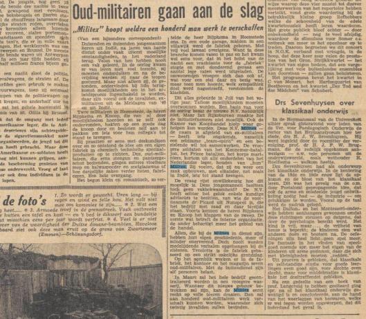 Artikel over Militex uit: Nieuwsblad van het Noorden, 20-1-1949.
