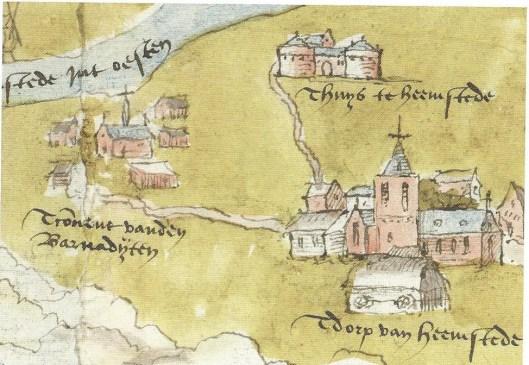 Uitsnede Heemstede, met links Bernardieten kapel en klooster, uit een kaart van 1539 van de Grote Raad van Mechelen (tegenwoordig aanwezig in het Algemeen Rijksarchief Brussel)