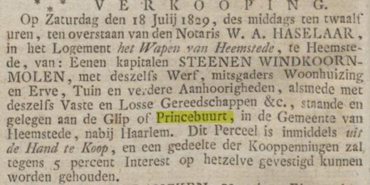 Bericht van verkoop via openbare veiling in logement 'Het Wapen van Heemstede' van korenmolen de Nachtegaal in 1829, toen aangekocht door Arie Wezel (OHC, 4-7-1829)