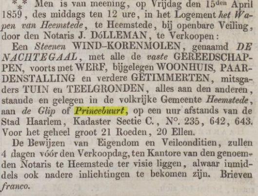 Verkoopbericht uit 1859 toen Huibert Hombroek molen bij een veiling de Nachtegaal verkocht aan Jacques Bosse