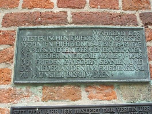 Plaquette voor het 'Krameramtshaus'- tegenwoordig 'Haus der Niederlande' in Münster