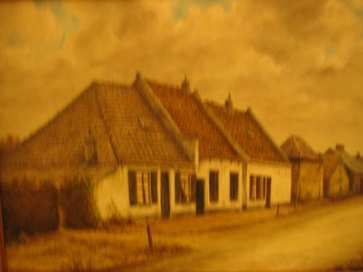De vroegere boerderij van Kortekaas aan de Prinsenlaan geschilderd door Gabe de Vries op basis van een oude foto.