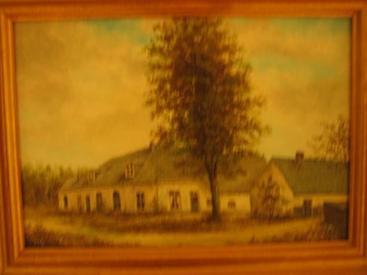 De boerderij van Van Schie (Van Merlenstal), geschilderd door Gabe de Vries op basis van een oude prentbriefkaart