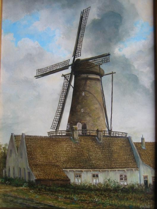 Molen de Nachtegaal naar een oude foto geschilderd door Gabe de Vries