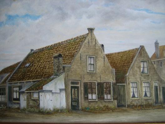 Twee huizen van Höcker aan de Glipperweg nabij de molen, intussen afgebroken. Schilderij naar oude foto door Gabe de Vries uit Heemstede