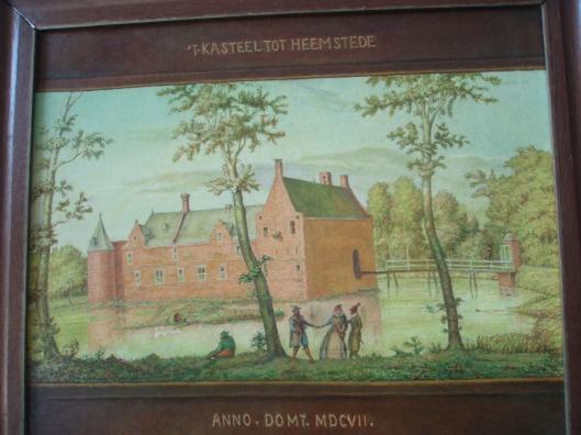 J.J.Gerstel, gepensioneerd tekenleraar schilderde het middeleeuwse Huis te Heemstede na naar oude afbeelding, zoals in welstand in 1607 (HVHB)
