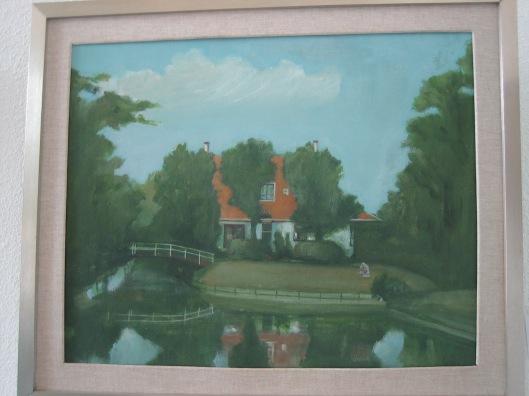 Schilderij van huisje mw. Loeff aan de Reek (Bennebroekervaart) in Bennebroek