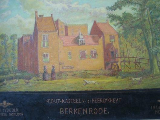 Het laatmiddeleeuwse kasteel Berkenrode. Geschilderd door de heer J.J.Gerstel, gepensioneerd tekenleraar uit Rotterdam die zich na zijn pensionering vanaf 1945 zich in de geschiedenis van Heemstede verdiepte (geschonken aan de gemeente Heemstede)