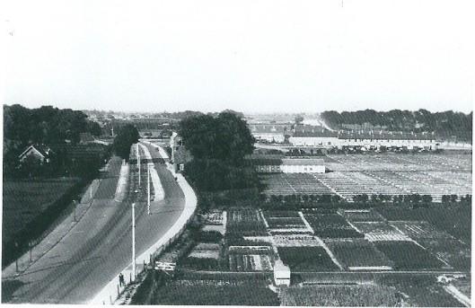 Foto vanaf de molen van Höcker genomen met de Glipperweg richting Heemstede. Rechts de bollenschuur van Vrugt en verderop huizen van het losstaand wijkje Glip 1 )Dr.Schaepmanlaan e.d.). In het midden liep de tram.