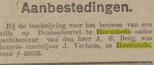 Bericht over aanbesteding van Bloemenoord. Uit: Algemeen Handelsblad van 20-10-1920.
