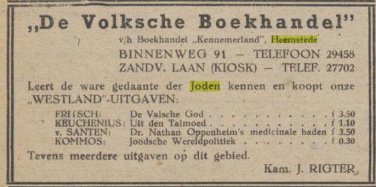 Advertentie van De Volksche Boekhandel in Heemstede, ondertekend door kameraad J.Rigter. Uit: De Misthoorn, 7 maart 1942