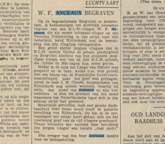 W.F.Anceaux begraven, Uit: Algemeen Dagblad, 29012-1940.