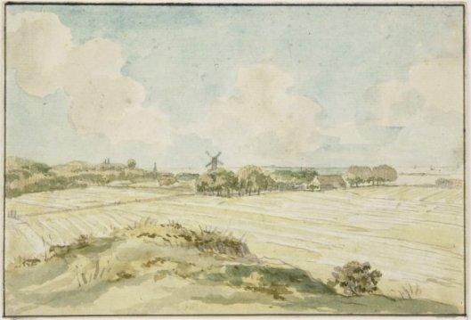 Jurriaan Andriessen (1742-1819): gezicht op de Glip Heemstede met blekerij Bleeklust en molen de Nachtegaal. Daarachter het Haarlemmermeer (Nootd-Hollands Archief).