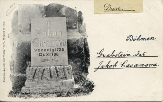 Oude prentbriefkaart van het graf van Casanova in Dux