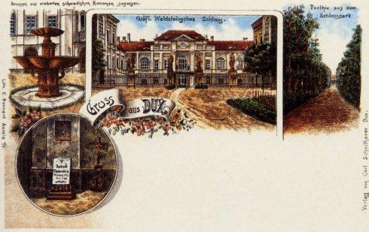 Oude prentbriefkaart met o.a. het grafelijk slot in Dux